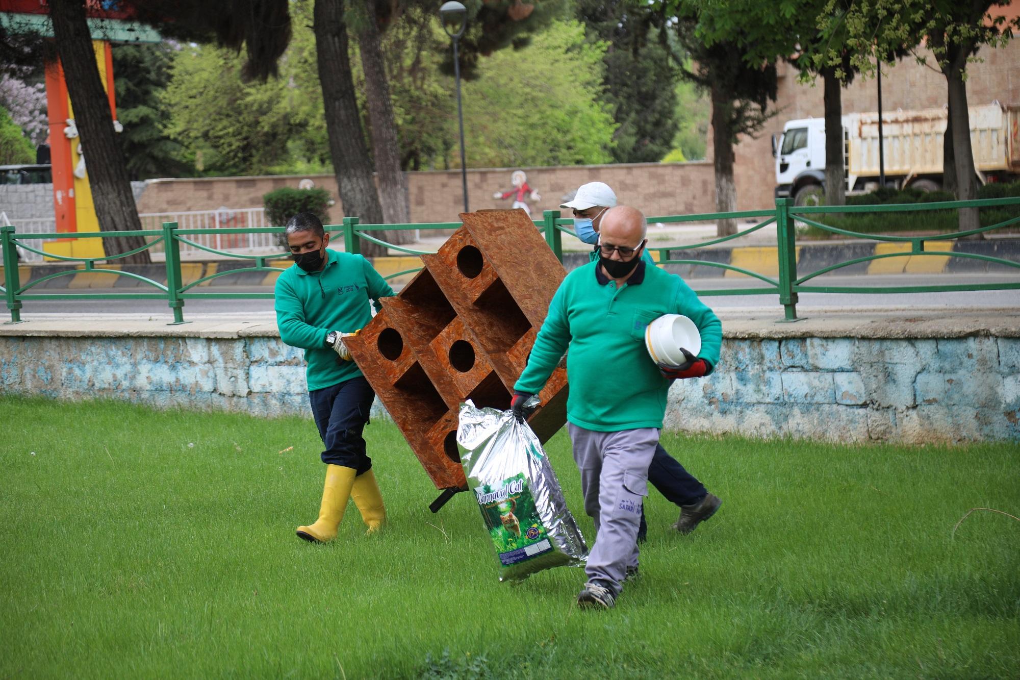 Gaziantep Hayri Tütüncüler Parkı'na yeni kedi evleri