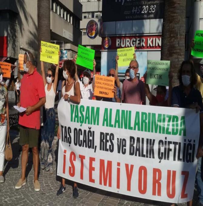 Güral Porselen'in Germiyan'da yapmak istediği kaçak RES'ler protesto edildi