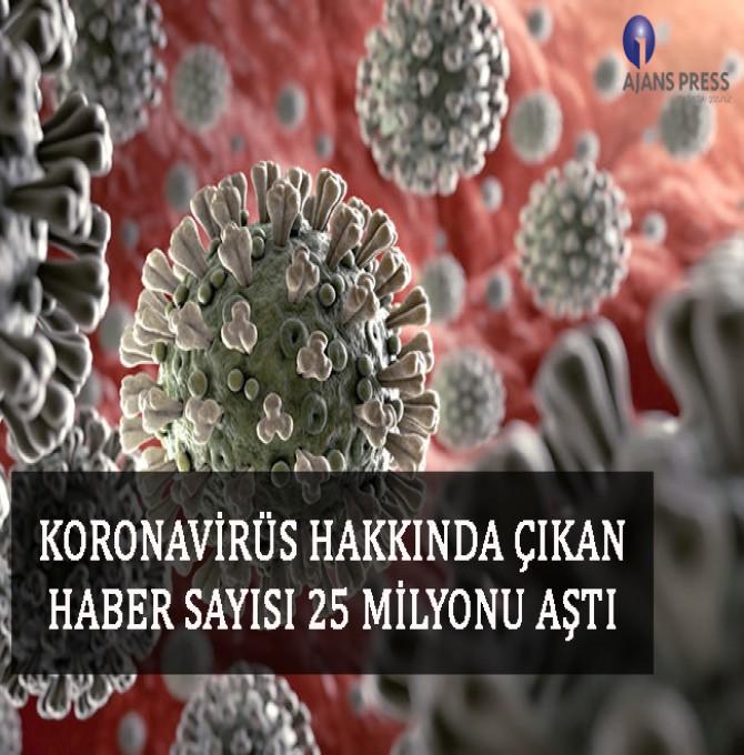 Koronavirüs hakkında çıkan haber sayısı 25 milyonu aştı